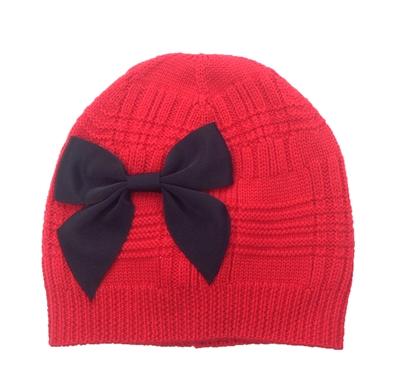 Kate Spade Knit Beanie Hat W Grosgrain Bow Fairytale Red