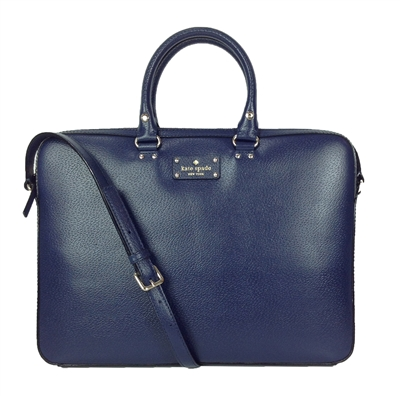 Kate Spade Wellesley Tanner Leather Laptop Bag French Navy